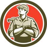 Builder Carpenter Arms Crossed Hammer Circle Retro Royalty Free Stock Photos