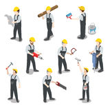 Builder carpenter construction worker flat 3d isometric vector. Flat 3d isometric builder construction worker icon set concept web infographics vector vector illustration