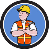 Builder Carpenter Folded Arms Hammer Circle Cartoon Royalty Free Stock Image