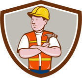 Builder Carpenter Folded Arms Hammer Crest Cartoon. Illustration of a builder carpenter construction worker arms folded holding hammer looking to the side set Stock Photography