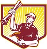 Builder Carpenter Hold Hammer Building Plan Retro Royalty Free Stock Image