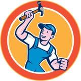 Builder Carpenter Holding Hammer Circle Cartoon Stock Image