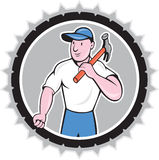 Builder Carpenter Holding Hammer Rosette Cartoon Stock Photo