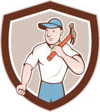 Builder Carpenter Holding Hammer Shield Cartoon. Illustration of a builder construction worker carpenter holding hammer on shoulder looking to the side set Royalty Free Stock Photos