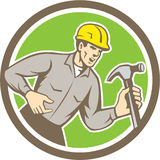 Builder Carpenter Shouting Hammer Circle Retro Royalty Free Stock Images