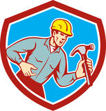 Builder Carpenter Shouting Hammer Shield Retro Stock Images