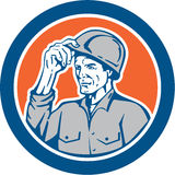 Builder Carpenter Tipping Hardhat Circle Retro Stock Image