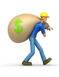 Builder carries a bag of money Stock Image