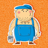 Builder. Cartoon builder with a bucket of cement and a trowel on the thematic background stock illustration