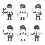 Builder characters set black Stock Photography