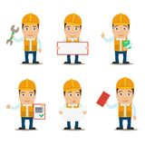 Builder characters set Stock Photography