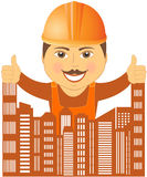 Builder with city showing thumb up Royalty Free Stock Photos