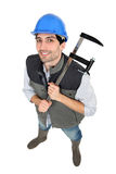 Builder with a clamp Royalty Free Stock Photos