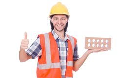 Builder with clay bricks Stock Photography