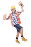 Builder with clay bricks Royalty Free Stock Photography