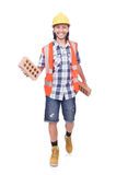 Builder with clay bricks Stock Images