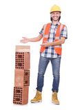 Builder with clay bricks Royalty Free Stock Photo