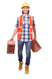 Builder with clay bricks isolated Royalty Free Stock Photography