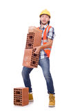 Builder with clay bricks isolated Royalty Free Stock Photo