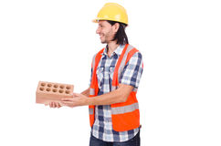 Builder with clay bricks isolated Stock Images