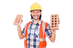 Builder with clay bricks isolated Stock Photo