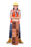 Builder with clay bricks isolated Royalty Free Stock Image