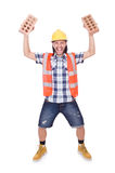 Builder with clay bricks Royalty Free Stock Photos