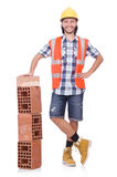 Builder with clay bricks Royalty Free Stock Images