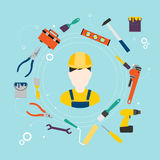 Builder and color tools for repair and home improvement. Vector Royalty Free Stock Photo