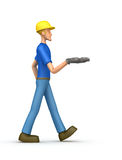 Builder comes with outstretched arm Royalty Free Stock Photo