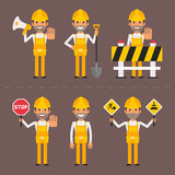 Builder concept prohibiting signs Royalty Free Stock Photo