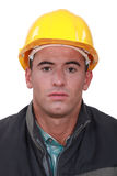 Builder with confused look Stock Photos