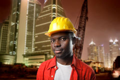 Builder at constraction yard Stock Photo