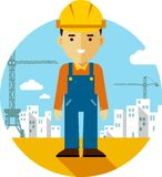 Builder on construction background in flat style Stock Photo