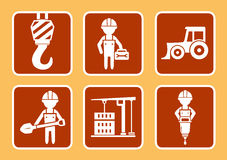 Builder with construction equipment Stock Images
