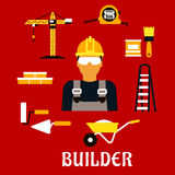 Builder and construction flat icons Royalty Free Stock Photography