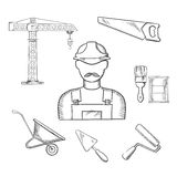 Builder and construction industry sketched icons Stock Images
