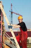 Builder at construction site Royalty Free Stock Photo