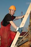 Builder at construction site Stock Image