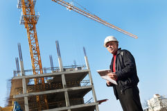 Builder at construction site Royalty Free Stock Photos