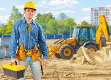Builder on construction site Royalty Free Stock Images