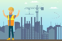 Builder on Construction Site Flat Vector Concept royalty free illustration