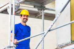 Builder on construction site Royalty Free Stock Photo