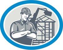 Builder Construction Worker Mechanical Digger Oval. Illustration of a builder construction worker with digger mechanical excavator and building frames in royalty free illustration