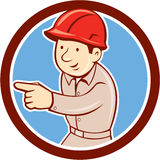 Builder Construction Worker Pointing Circle Cartoon Royalty Free Stock Images