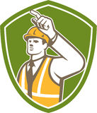 Builder Construction Worker Pointing Shield Retro Stock Image