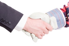 Builder and contractor hand shake Stock Images