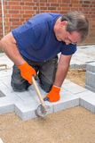 Builder or contractor laying paving stones. Stock Images