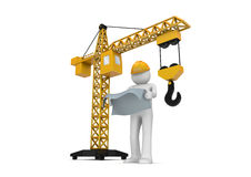 Builder and crane. 3d isolated on white background characters series Royalty Free Stock Photos