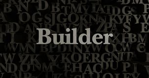 Builder - 3D rendered metallic typeset headline illustration. Can be used for an online banner ad or a print postcard Stock Images